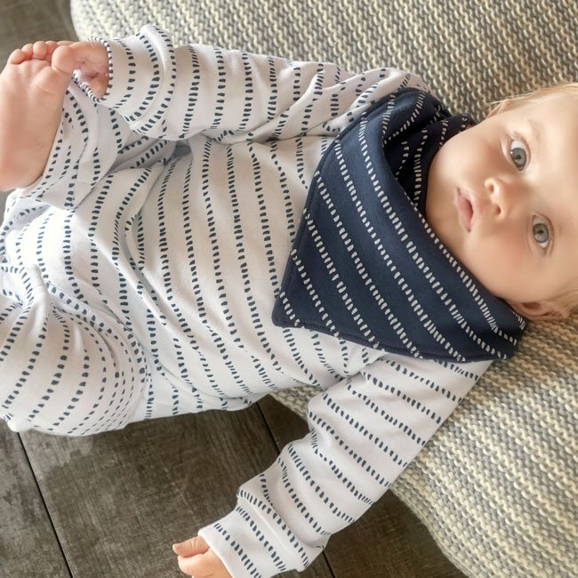 oliver and rain-organic-baby-unionsuit-long sleeve-dash stripe-navy-white