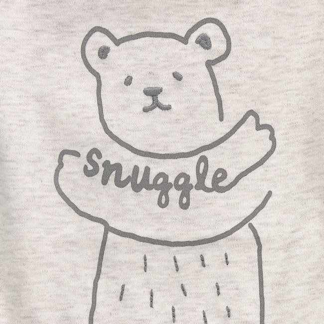oliver and rain-organic-baby-bodysuit-short sleeve-bear snuggle-heather oatmeal