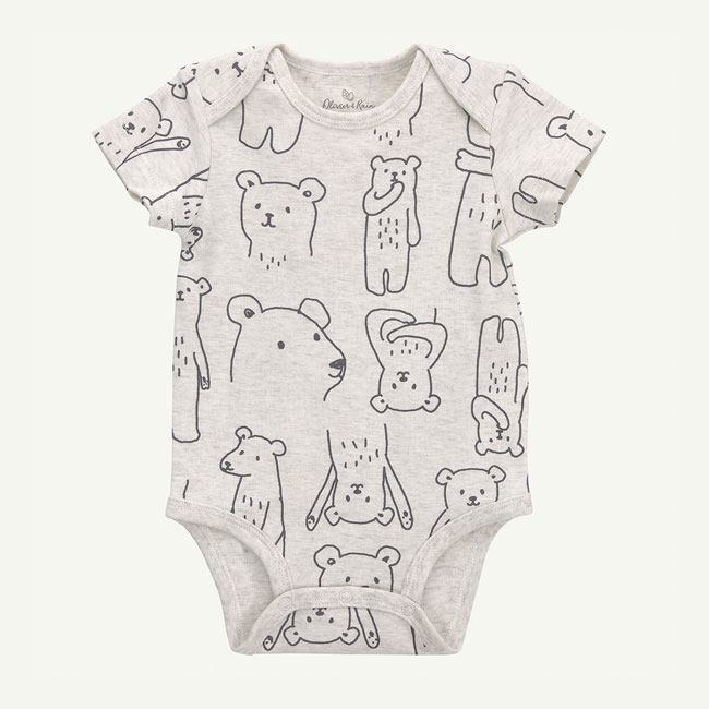 oliver and rain-organic-baby-bodysuit-short sleeve-bear print-heather oatmeal