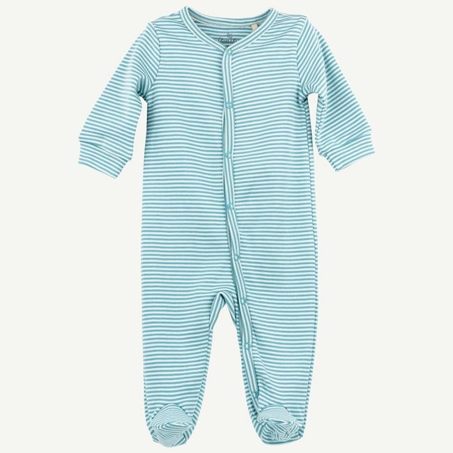 Organic Light Teal Mini Stripe Footed Sleep And Play